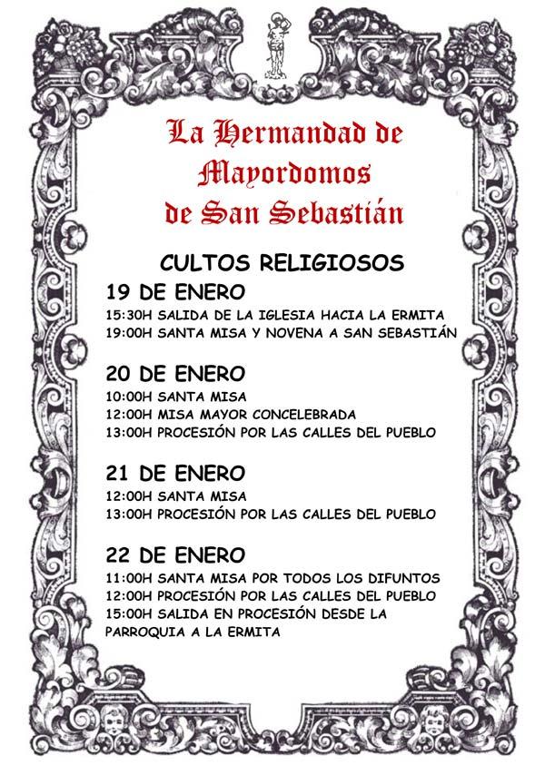 Programa de fiestas en honor a San Sebastián 2018 en Malpica de Tajo Sanse_Ac_RELI