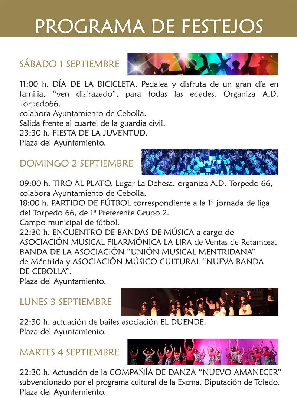 Programa de las fiestas en honor a Ntra. Sra. de la Antigua 2018 en Cebolla Cebolla_18_2