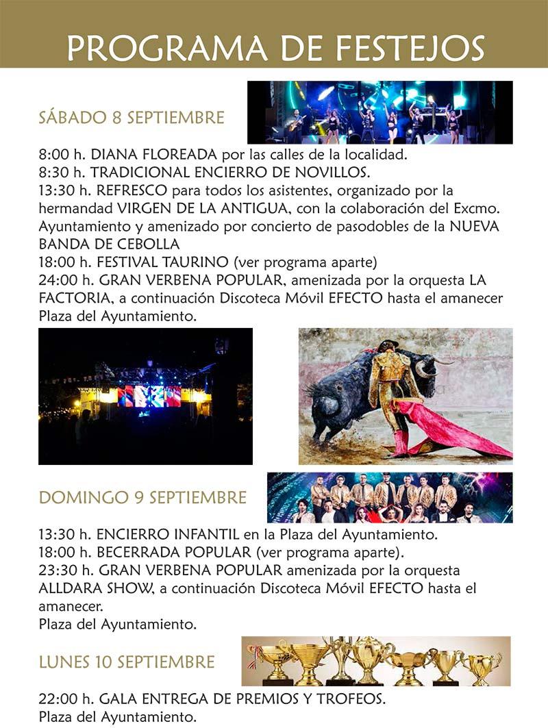 Programa de las fiestas en honor a Ntra. Sra. de la Antigua 2018 en Cebolla Cebolla_18_4