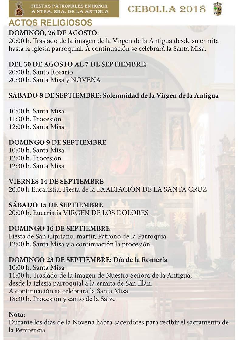 Programa de las fiestas en honor a Ntra. Sra. de la Antigua 2018 en Cebolla Cebolla_18_6