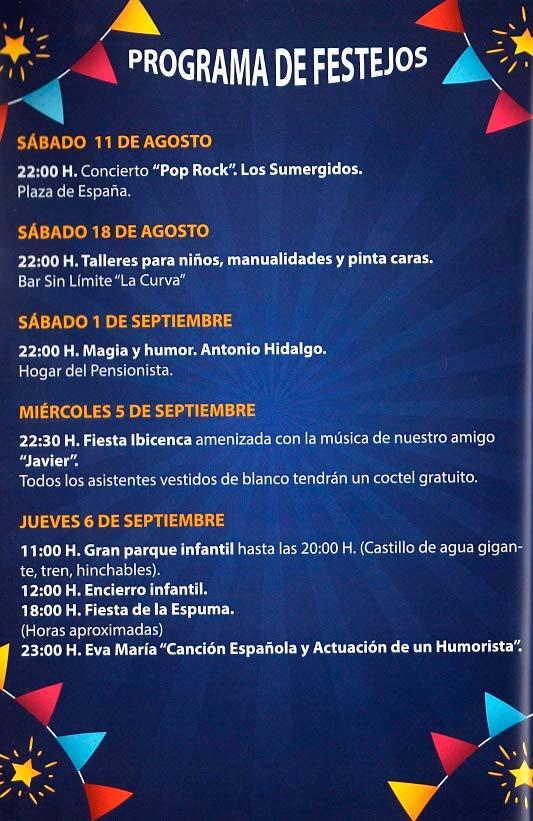 Programa de las fiestas en honor a Nª Sra. del Prado del 11 de agosto al 9 de septiembre de 2018 en Domingo Pérez Domingoperez18_1