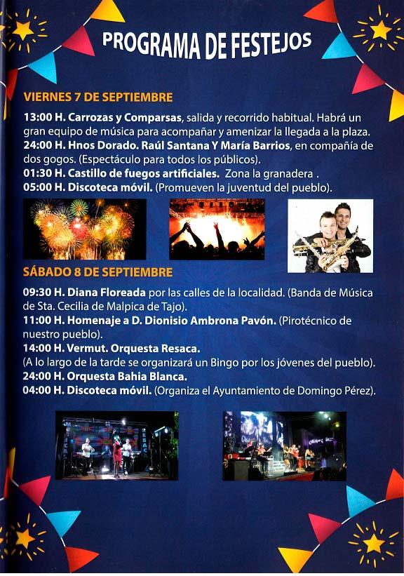 Programa de las fiestas en honor a Nª Sra. del Prado del 11 de agosto al 9 de septiembre de 2018 en Domingo Pérez Domingoperez18_2