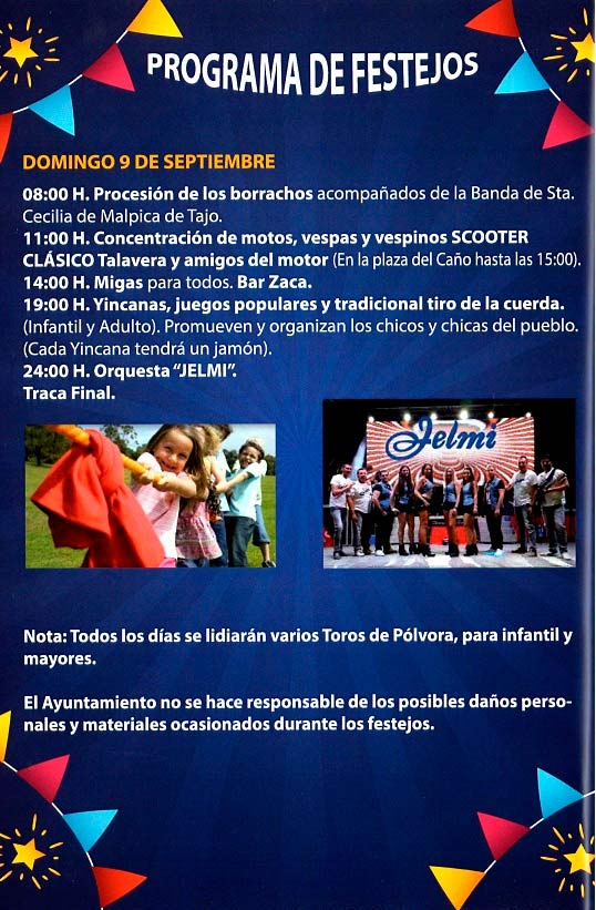 Programa de las fiestas en honor a Nª Sra. del Prado del 11 de agosto al 9 de septiembre de 2018 en Domingo Pérez Domingoperez18_3