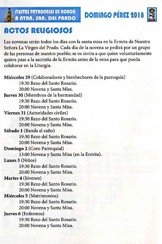 Programa de las fiestas en honor a Nª Sra. del Prado del 11 de agosto al 9 de septiembre de 2018 en Domingo Pérez Domingoperez18_4
