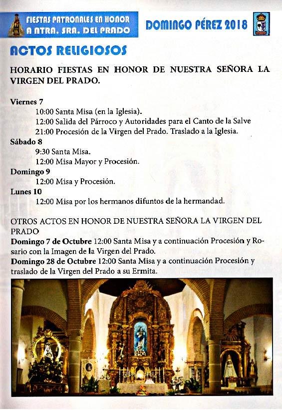 Programa de las fiestas en honor a Nª Sra. del Prado del 11 de agosto al 9 de septiembre de 2018 en Domingo Pérez Domingoperez18_5