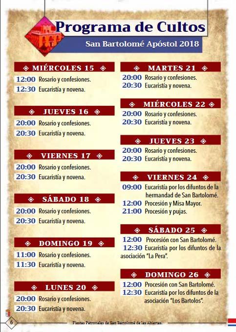 Programa de las fiestas en honor a San Bartolemé apóstol, del 23 al 26 de agosto de 2018, en San Bartolomé de las Abiertas Sanbar1