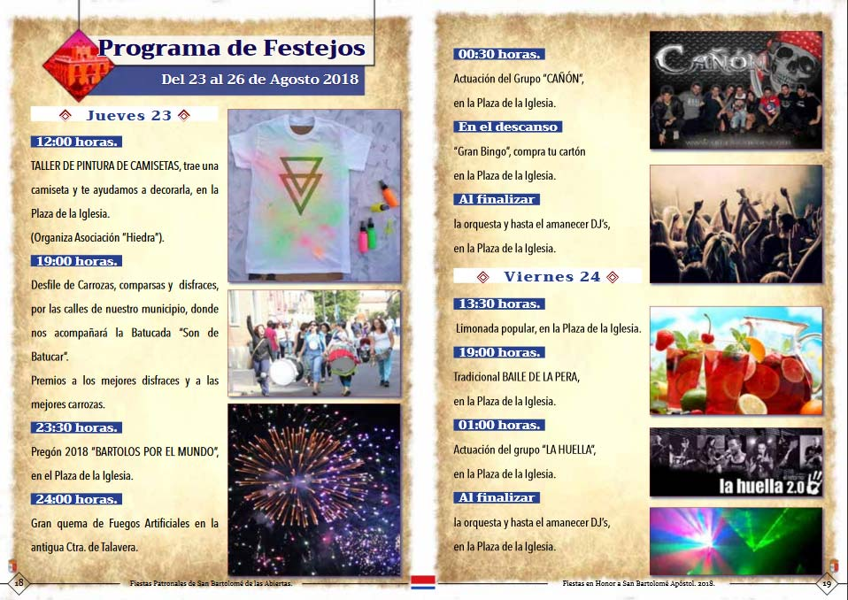 Programa de las fiestas en honor a San Bartolemé apóstol, del 23 al 26 de agosto de 2018, en San Bartolomé de las Abiertas Sanbar5
