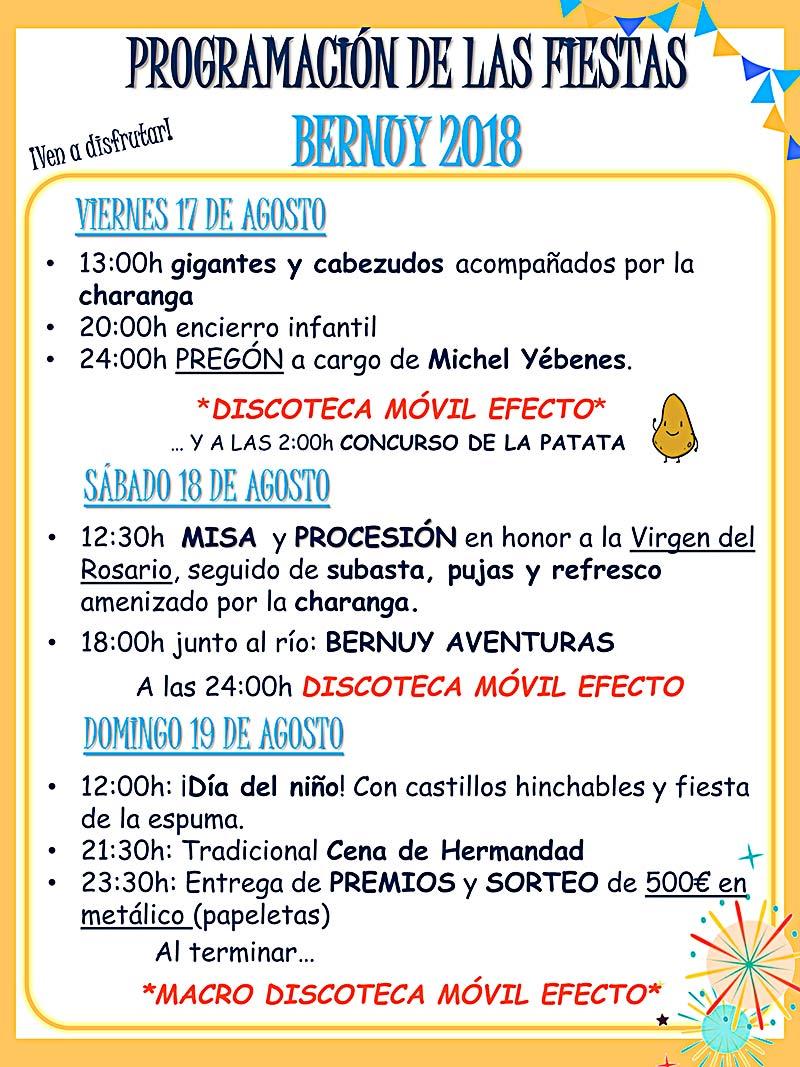 Programa de las fiestas de Ntra. Sra. del Rosario en Bernuy (Toledo). Agosto del 2018 Bernuy18