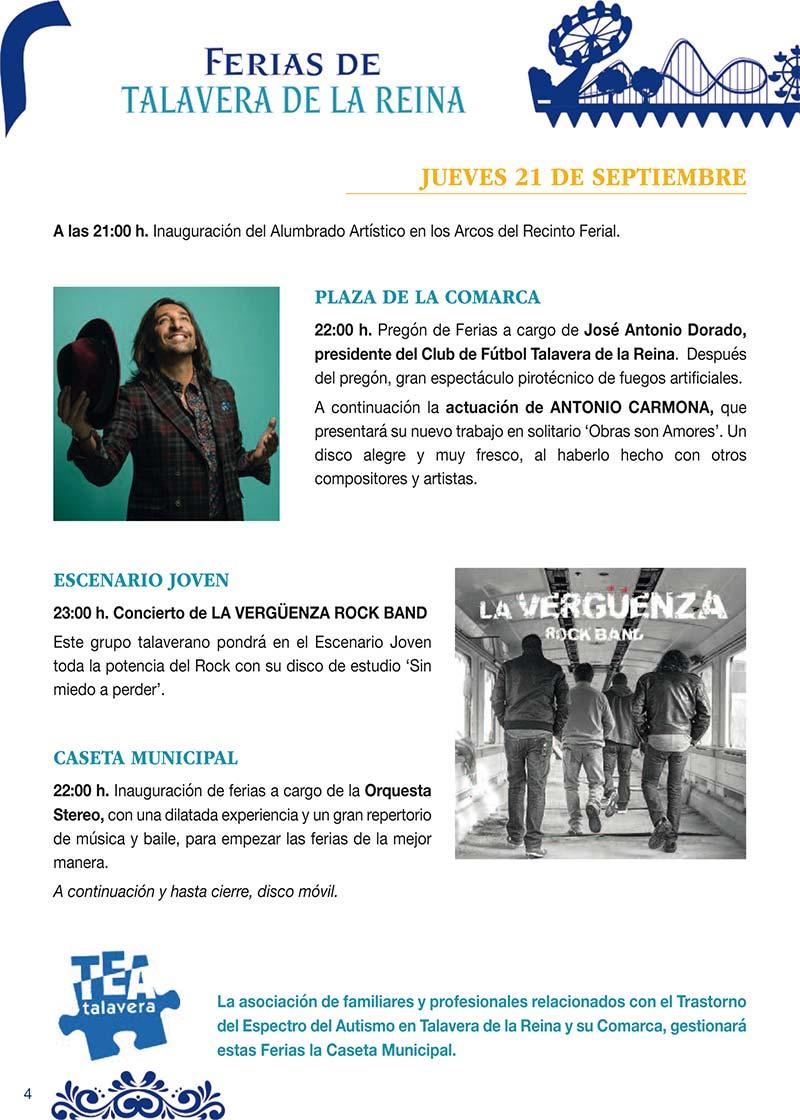 Fiestas Talavera 2017. Programa de las ferias en honor a San Mateo 2017 en Talavera de la Reina Talasanmateo2017_3