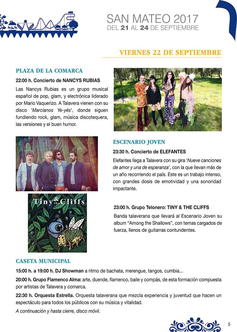 Fiestas Talavera 2017. Programa de las ferias en honor a San Mateo 2017 en Talavera de la Reina Talasanmateo2017_4