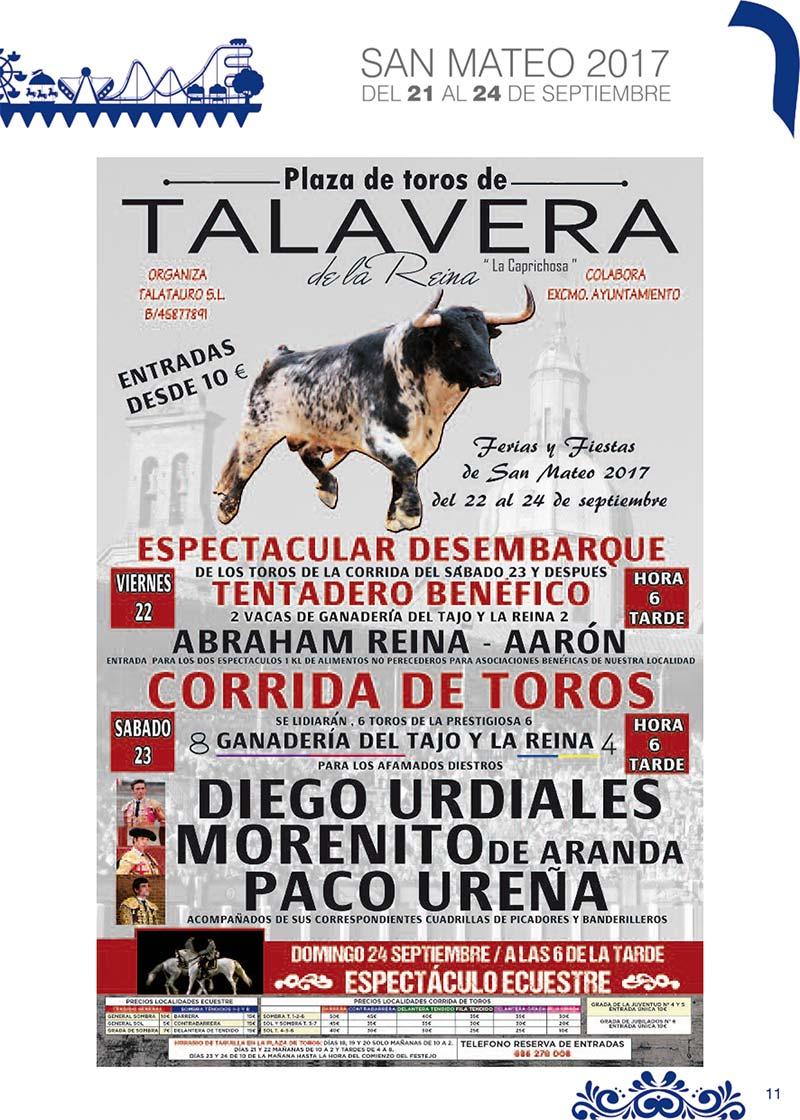 Fiestas Talavera 2017. Programa de las ferias en honor a San Mateo 2017 en Talavera de la Reina Talasanmateo2017_8